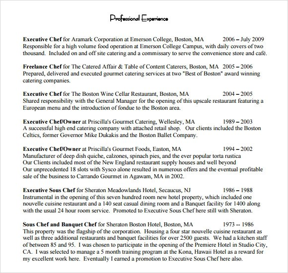 Chef Resumes Examples. Chef Resume Example Executive Chef Resume
