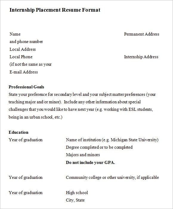 resume for internship example resume examples and free resume
