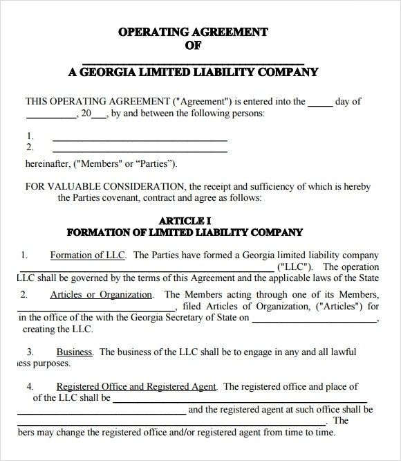 Llc Articles Of Operation
