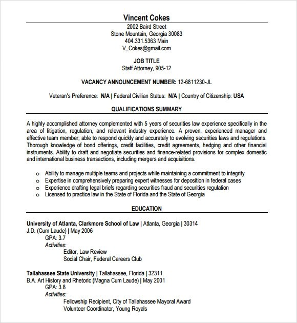 lawyer resume 7 free samples examples format