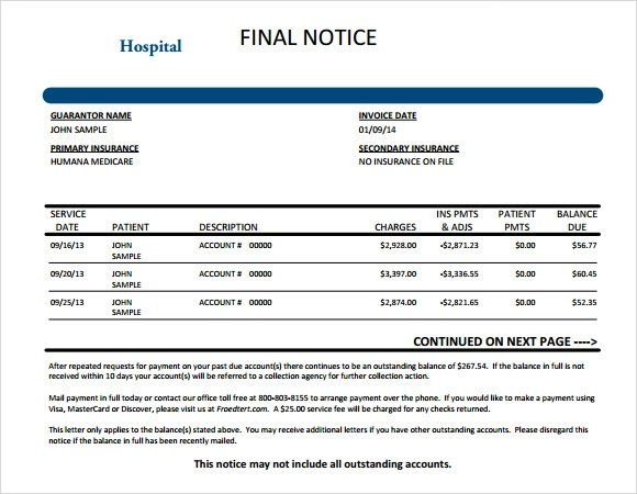 Medical Invoice Template Word Dotxes formilesinfo – Hospital Invoice Template