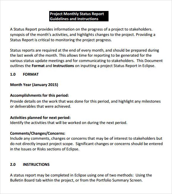 Executive Status Report Template reporting status report – Monthly Project Status Report Template