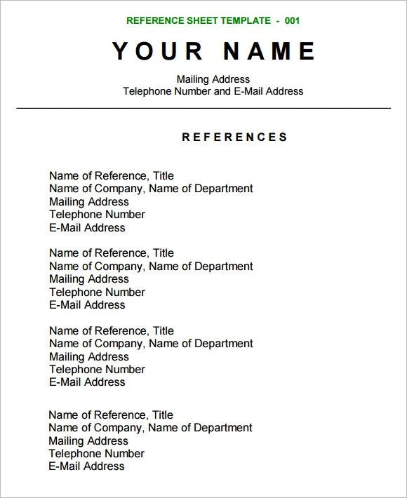 sample reference page for resume references sample how to create a