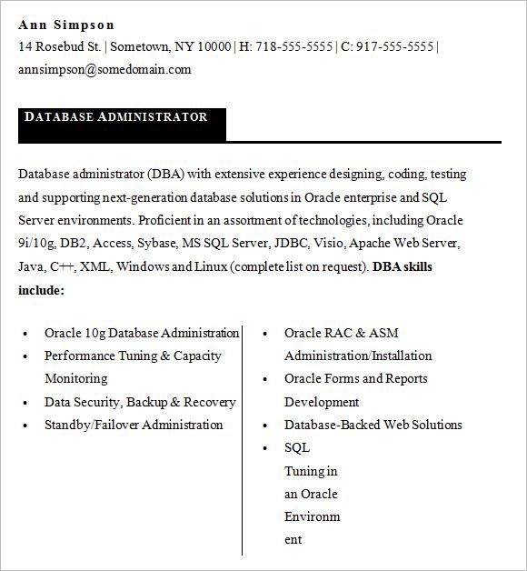Dba Resume sql dba resume sample Dba Resume