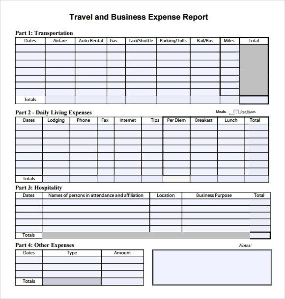 Expense Report Template Free. Weekly Expense Report Template