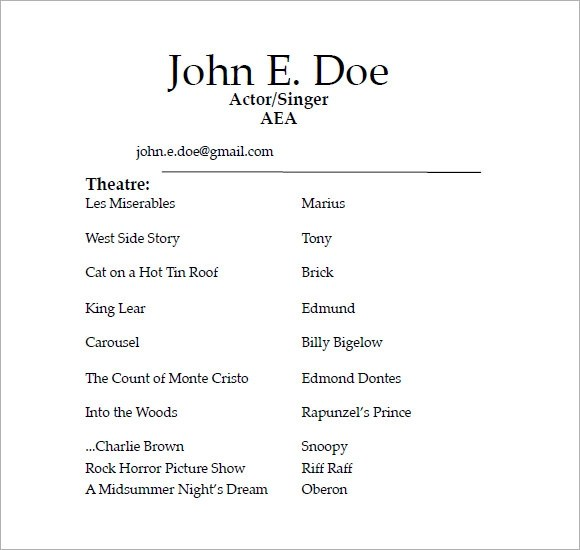 sample acting resume 6 documents in pdf word sample of acting resume - Free Actor Resume Template
