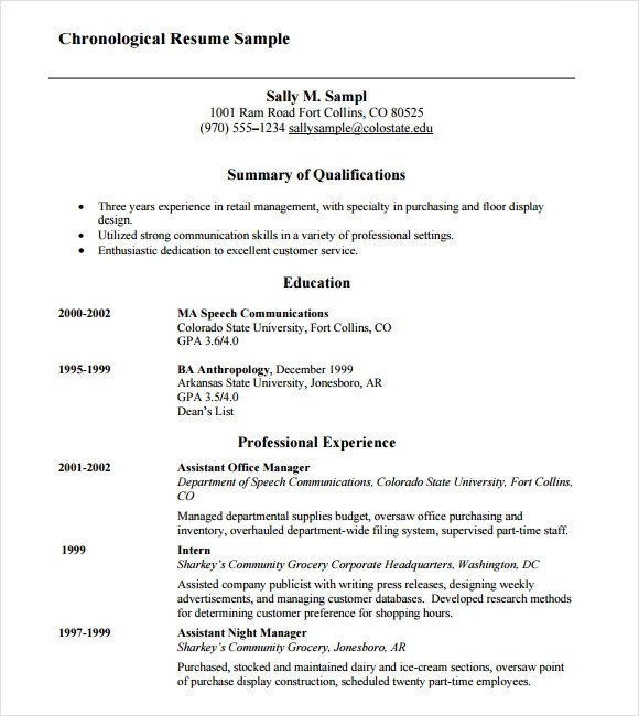 Chronological Resume Example. Chronological Resume 9 Samples