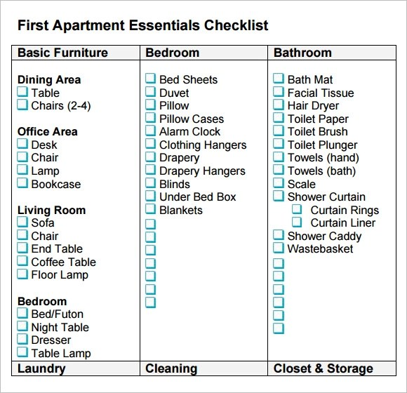 8 New Apartment Checklist Samples Sample Templates