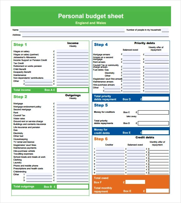 worksheet for excel. personal budget template for numbers free ...