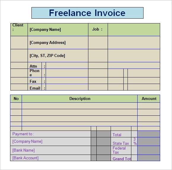 Freelance Invoice Template 8 Free Word PDF Format