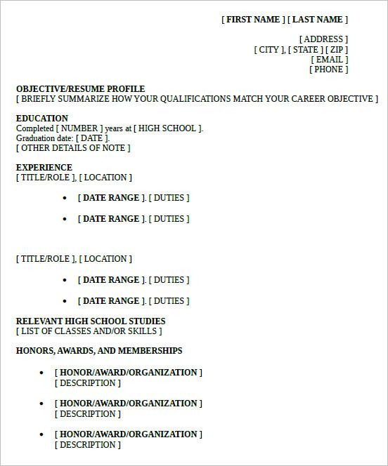 School Resume Template. High School Resume Template Word Format