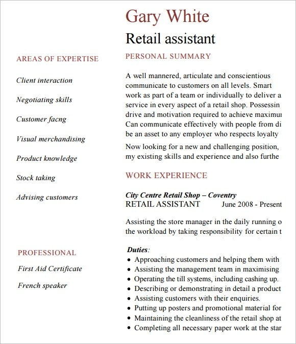 10 Retail Resume Templates Samples Examples Amp Format Sample Templates