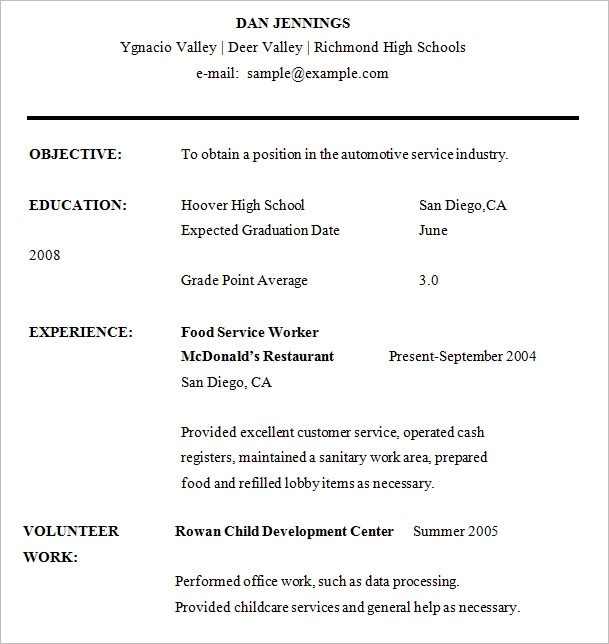 Resume Examples High School  Resume Examples And Free Resume Builder