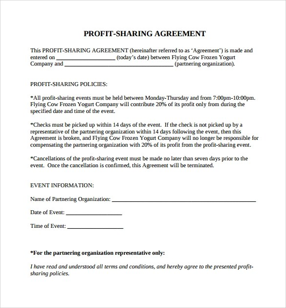 Doc600550 Sample Tolling Agreement Tolling Agreement 5 Free – Profit Sharing Agreement Template