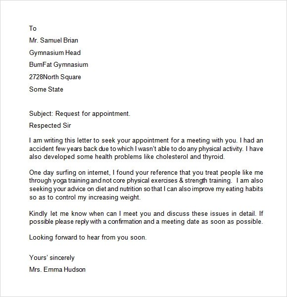 Best appointment request letter for business meeting image collection appointment letter 7 free samples examples format sample sample business meeting appointment request spiritdancerdesigns Image collections
