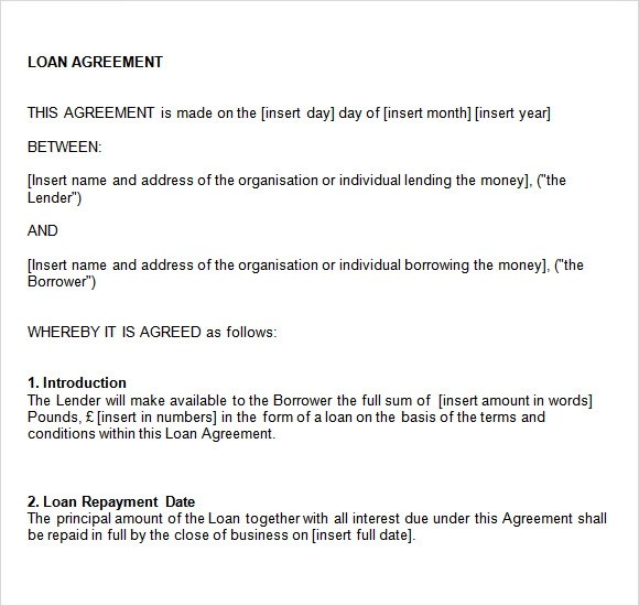 Doc499644 Loan Template Word Loan Agreement Template 91 – Words of Agreement
