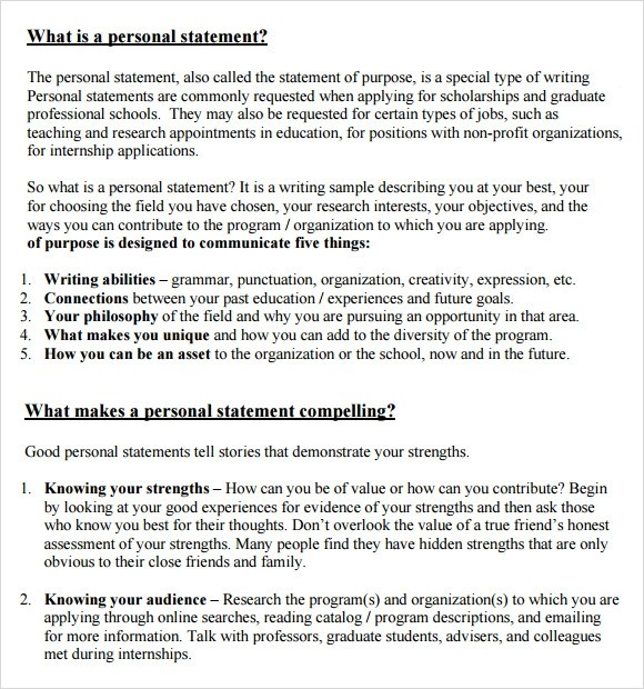 Sample Personal Statement Templates In