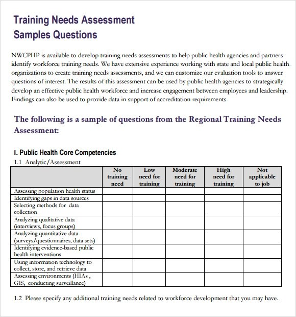 Presentation Survey Template. 11 training needs assessment ...