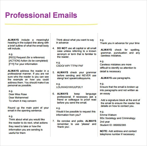 professional email templates samples examples amp format