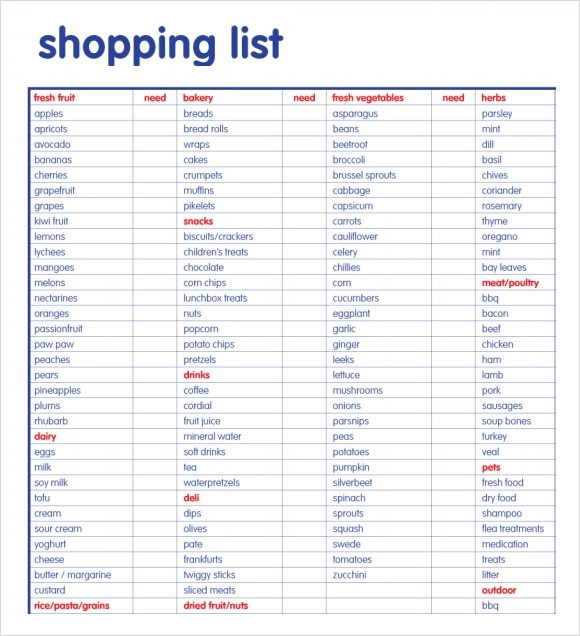 Doc736950 Shopping List Format 1000 ideas about Grocery List – Shopping List Format