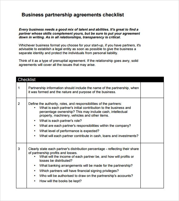 Sample Business Partnership Agreement 10 Documents In PDF Word