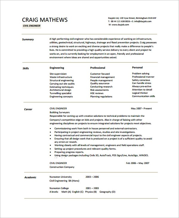 Sample Engineering Cv Templates In Pdf
