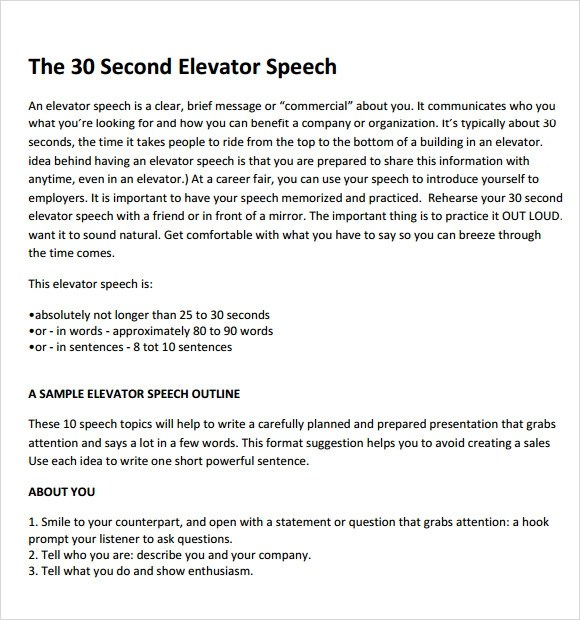 Elevator Pitch Template. sample elevator pitch template 11 free ...