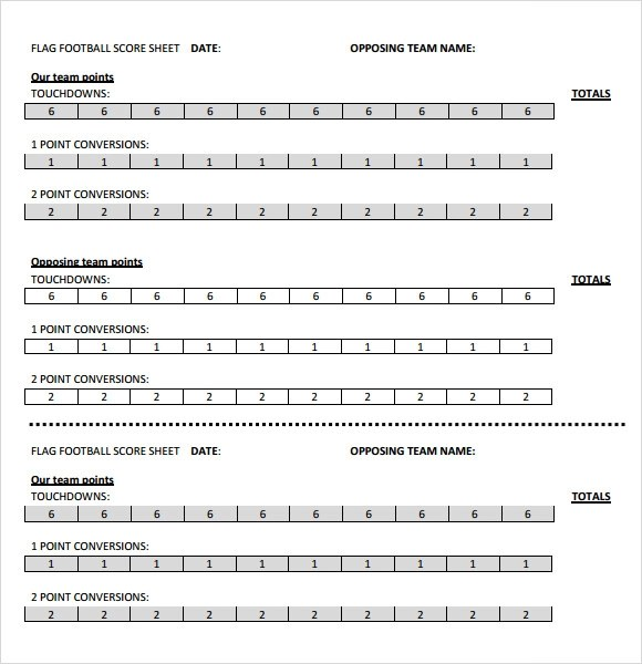 Sample Football Score Sheet  Resume Template Sample