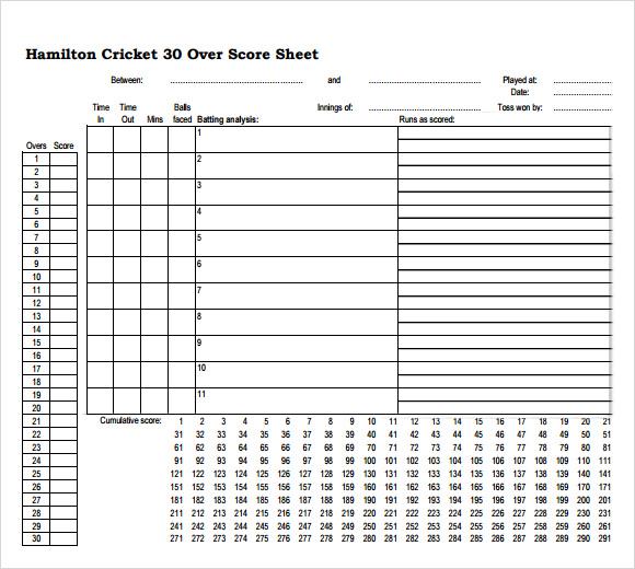Doc580550 Sample Cricket Score Sheet Sample Cricket Score – Cricket Score Sheet