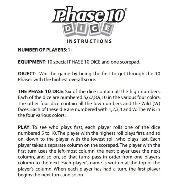 Sample Phase 10 Score Sheet 5 Free Doents In Pdf