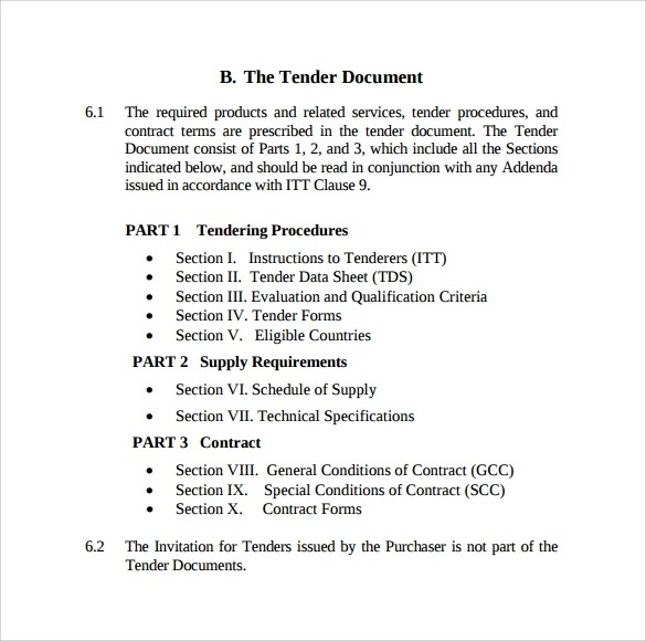 Tender Template  control procurements templates project