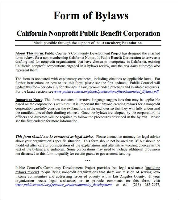 Free Bylaws Template free corporate bylaws template us corporate – Free Bylaws