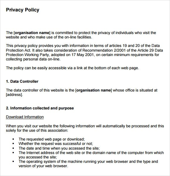 Privacy Policy Sample Template Sample Privacy Policy Templates