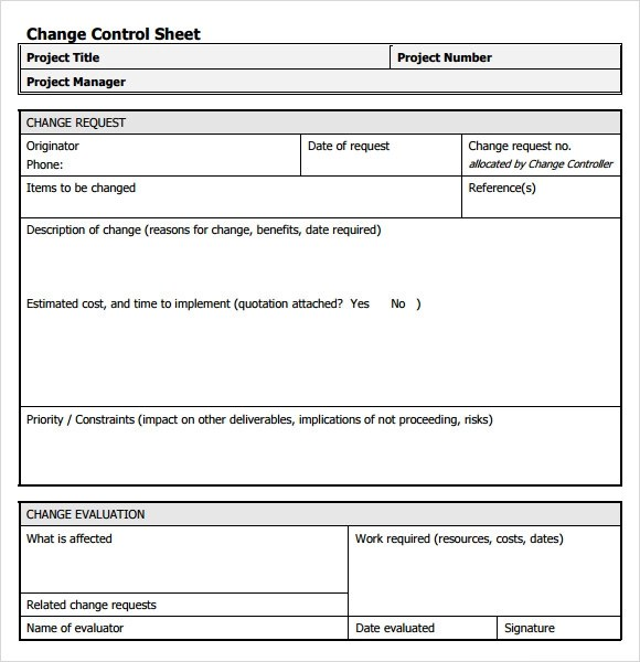 Doc.#: Change Management Form Template – Free Change Control