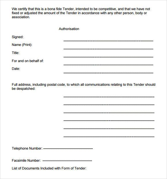 Tender Documents Templates  tender documents template tender notice