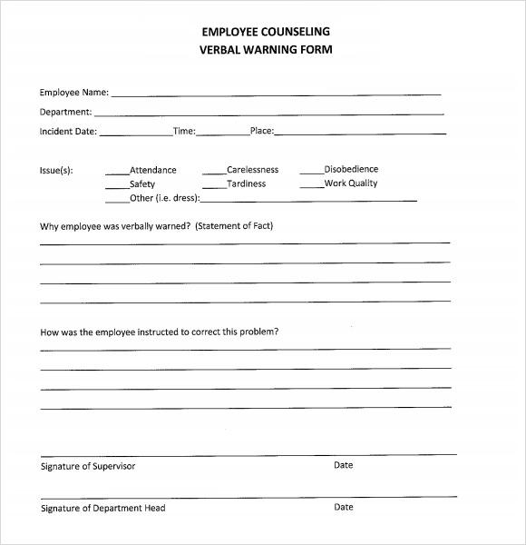 verbal warning form - free download