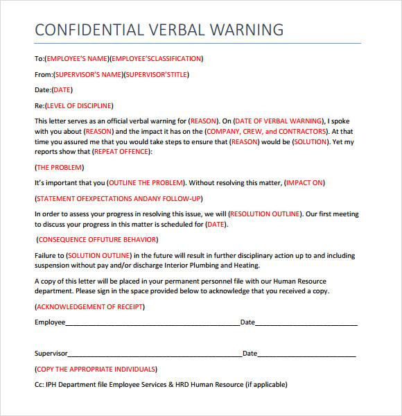 Sample Verbal Warning Template 5 Doents In Pdf