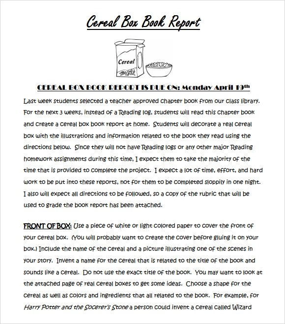 Cereal Box Report Template cereal box examples cereal box book – Cereal Box Book Report Template