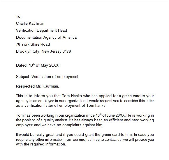 Sample Proof Of Employment Letter Employment Verification Letter – Sample Job Verification Letter
