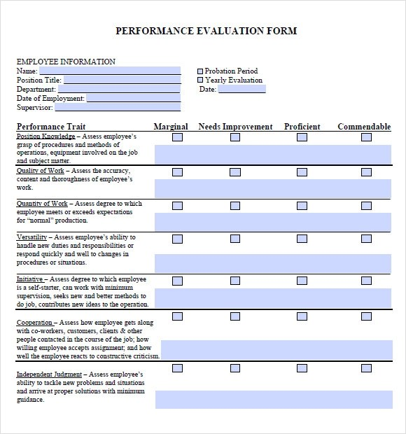 Simple Evaluation Template general manager performance appraisal – Sample General Evaluation Template