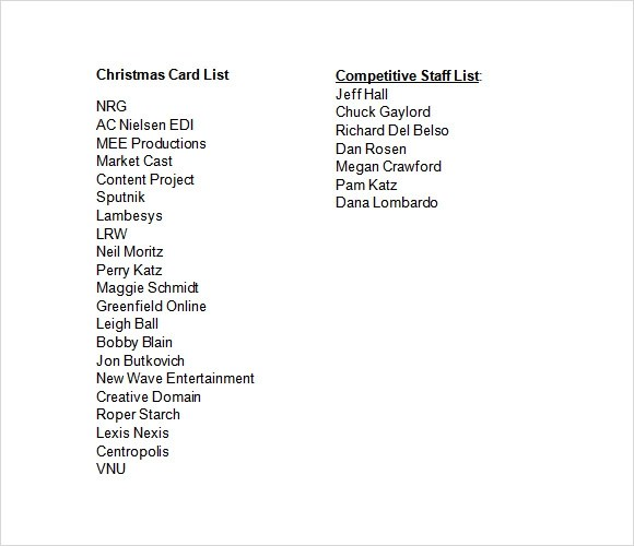 Sample Christmas List 21 Documents In PDF Word
