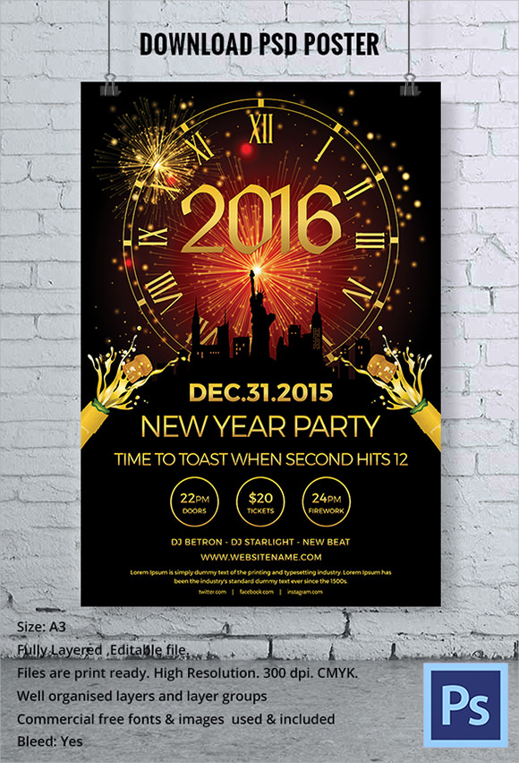 Sample New Year Poster Templates 30 Documents In Pdf