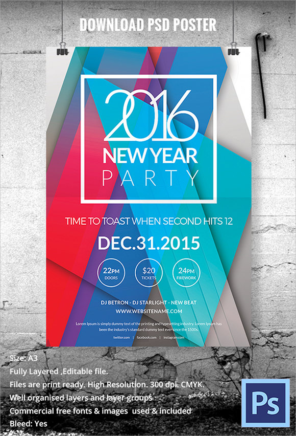 31 Awesome New Year Poster Templates to Download   Sample Templates Download New Year Poster