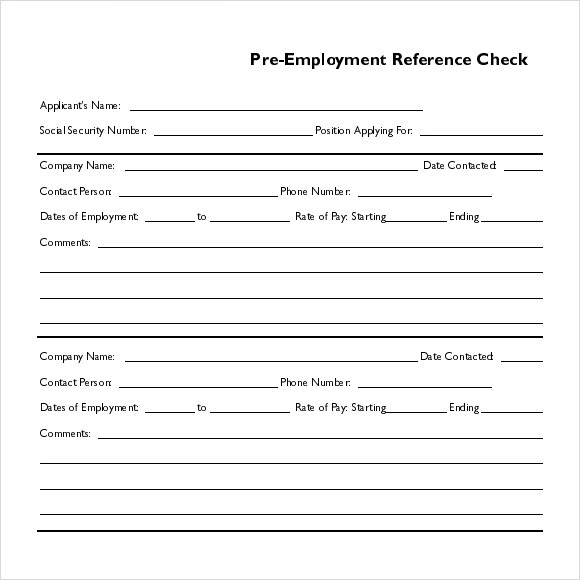 Employment Reference Form Template Cv Templates Chronological