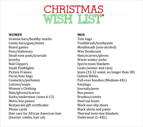 Sample For Christmas Wish List