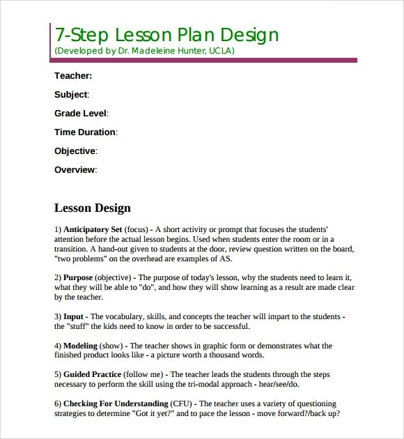 Sample Madeline Hunter Lesson Plan Template 9 Free Documents In PDF Word