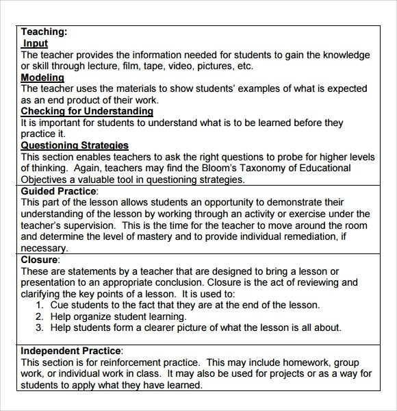 sample madeline hunter lesson plan template 7 free documents in pdf