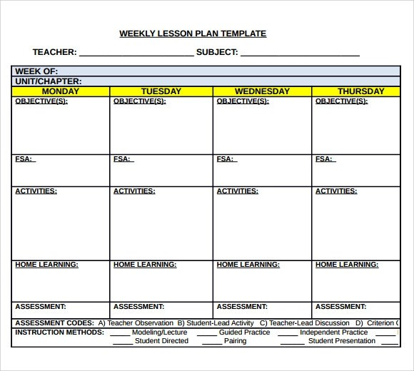 Sample Middle School Lesson Plan Template 7 Free