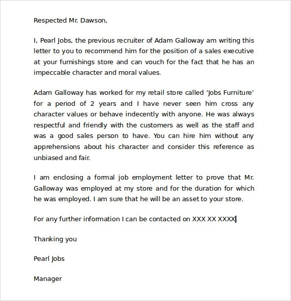 Personal Reference Letter For A Job Recommendation Letter For A