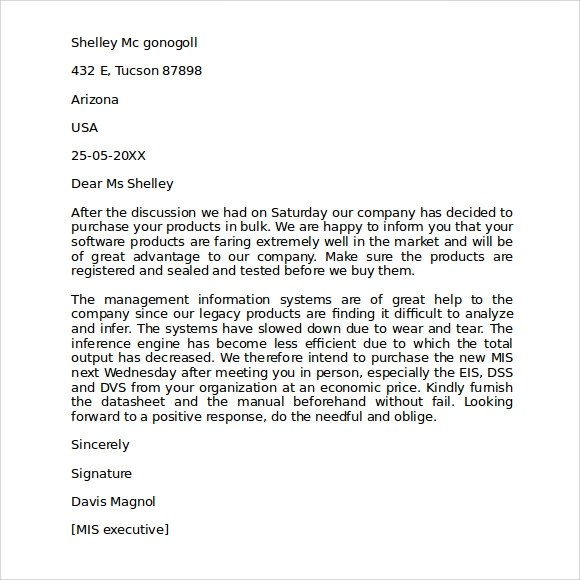 Letter Of Intent For Business Purchase Letter – Business Letter of Intent